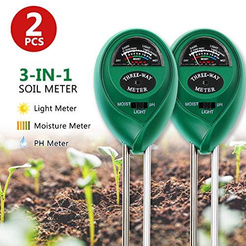 EKKONG Bodentester, Boden Feuchtigkeit Meter, 3-in-1 Pflanze Tester für Bodenmessgerät Feuchtigkeitsmesser/Sonnenlicht/Boden pH Tester für Garten, Bauernhof, Rasen (kein Batterien erforderlich)