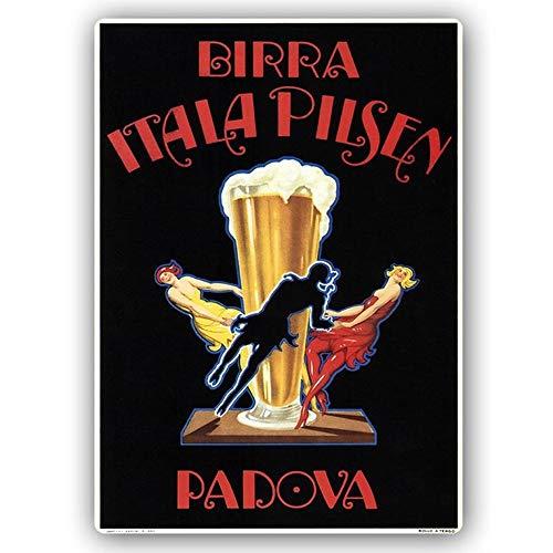 LegendArte Poster Vintage Pubblicitario Birra Itala Pilsen, Stampa su Metallo cm. 30x40