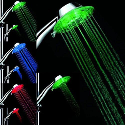 Starnearby LED Duschkopf mit Farbwechsel LED Handbrause, 7 Farben Licht Automatische, Einstellbare Wasserdurchfluss