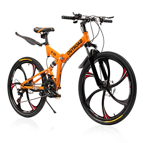 Max4out Mountain Bike and Folding Bikes with High Carbon Steel Frame, Featuring 6 Spoke Wheels and 21 Speed, Double Disc Brake and Dual Suspension Anti-Slip Bicycles (Orange hm)