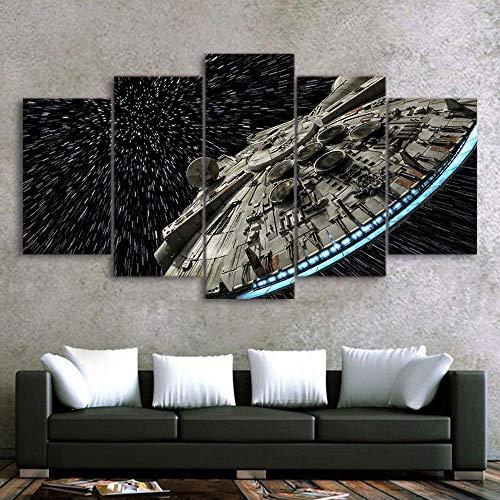 SAYPANLAR Wandbilder Segeltuch gedruckt Star Wars Zerstörer Millennium Falcon Bilder Poster 5 Panel Wandmalerei für Zuhause Büro Dekoration