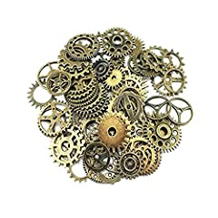 Antique steampunk gear charms Diameter: 10mm-26mm Copper color alloy metal Perfect for scrapbooking project, necklace pendant drop, jewelry making accessories 100g assorted gears is approx 70pcs per set