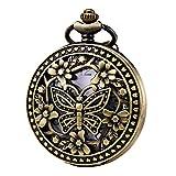 Morfong Reloj de bolsillo Vintage Steampunk Mariposa Patrón Fob Reloj de cuarzo para hombres y mujeres
