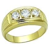 ISADY - Landon - Herren-Ring - 585er 14K Gold platiert - Zirkonium Transparent - T 67...