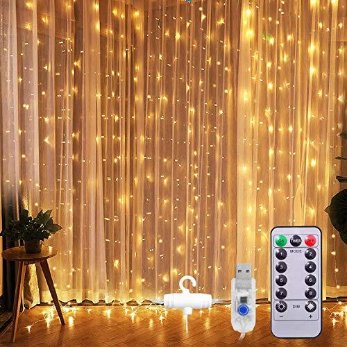Ventdest Cortina de Luz LED USB, 3 * 3M 300 LED Cadena de Luces Navidad, 8 Modos, Impermeable, Blanco Cálido para Fiestas, Bodas, Casa, Jardín, Decoración Navidad, etc.