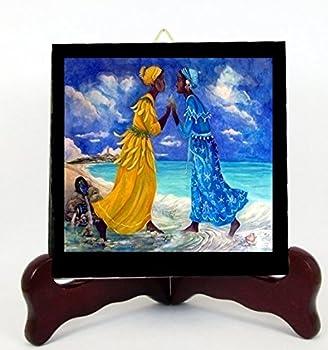 Gifts by Lulee LLC YEMAYA y OSHUN Maferefun Las Dos Aguas Santeria Deidades Yoruba Lucumi Altar Porcelana Hecha a Mano Incluye Caballete