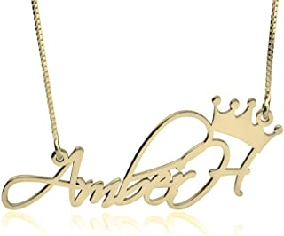 24k Gold Plated Crown Name Necklace - Personalized Name Necklace with Crown
