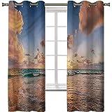 Cortinas opacas para dormitorio, aislamiento térmico para decoración del hogar, nubes, océano del Caribe, 2 paneles de 100 x 172 cm, cortinas opacas con ojales para dormitorio de niñas