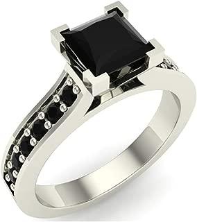 Princess Cut Black Diamond Engagement Ring 14K Gold 1.50 ct tw (AAA)
