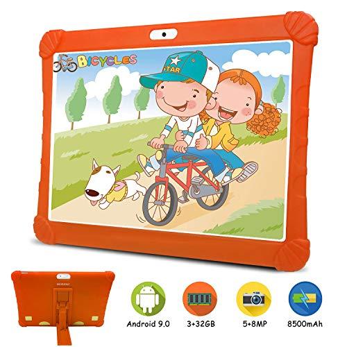 Tablets 10.1 Pulgadas 4G, Android 9.0 3GB RAM 32GB ROM Tableta PC, Quad-Core Dual SIM 8MP 8500mAh Bluetooth/WiFi/OTG /Netflix Moviles Buenos o Tablets Puede Llamar Tableta para niños (Naranja)