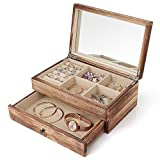 Meangood Jewelry Organizer Box Two-Layer, Jewelry case for Women, Wood Display Case with Mirror&Ring Tray, Vintage Style Torched Wood