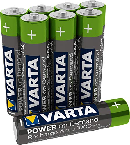 VARTA Power on Demand Rechargeable Akku Ready2Use vorgeladener AAA Micro 1000 mAh Ni-Mh Akku, wiederaufladbar ohne Memory-Effekt, sofort einsatzbereit, 8er Pack