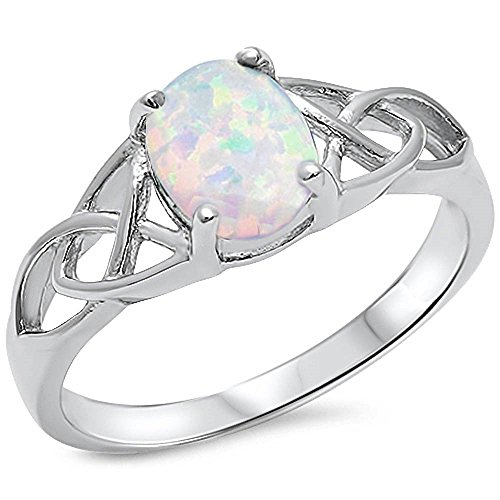 Oxford Diamond Co Oval Lab Created White Opal Celtic Design Band .925 Sterling Silver Ring Sizes 4-12 (12)