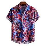 GBEN Funky - Camisa hawaiana de manga corta para hombre, de verano, informal, con estampado de camiseta de moda con botón Down Hawaiana