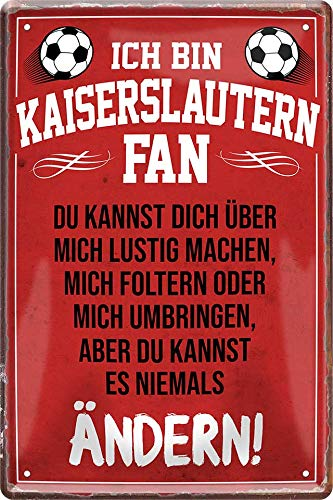 Blechschilder Hier wohnt EIN Kaiserslautern Fan/Offizieller Kaiserslautern Fan/Ich Bin Kaiserslautern Fan Deko Metallschild Schild Artikel Geschenk zum Geburtstag oder Weihnachten (Rot (20x30))