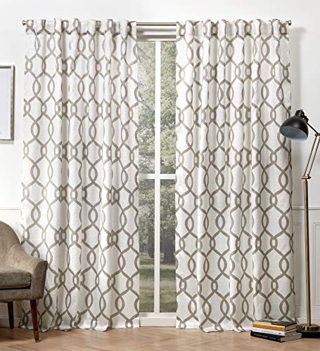 """96""""x54"""" Kochi Back Tab Light Filtering Window Curtain Panels Neutral - Exclusive Home"""