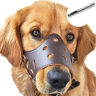 Dog Muzzle Leather, Comfort Secure Anti-barking Muzzles for Dog, Breathable and Adjustable, Allows Dringking and Eating, U...