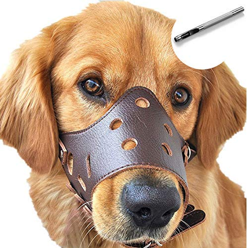 Barkless Dog Muzzle Leather, Comfort Secure Anti-Barking Muzzles for Dog, Breathable and Adjustable, Allows Dringking and Eating, Used with Collars (M, Brown)