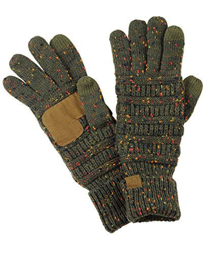 C.C Unisex Zopfstrickhandschuhe, warm, rutschfest, Touchscreen Text-Handschuhe - Grün - Einheitsgröße