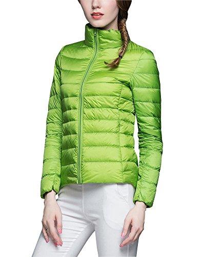 ZhuiKun Damen Daunenjacke Ultra Leicht Steppjacke Daunenmantel Winter Mantel Übergangsjacke Grün 3XL
