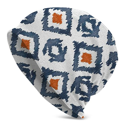 Fodmua Azul marino y naranja Diamond Knit oversize Beanie Skull Caps Artistic Hats