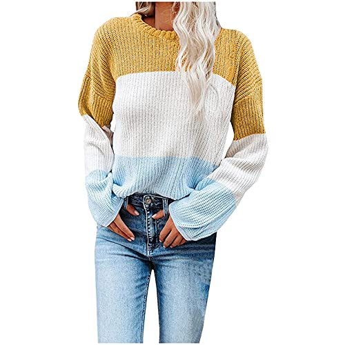 Women's Knitted Color Block Splicing Sweater Long Sleeve Crew Neck Loose Pullover Tops Lantern Sleeve Casual Blouse Yellow