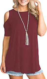 FSSE Women Tunic Top Crew Neck Cold Shoulder Short Sleeve Solid Blouse T-Shirts
