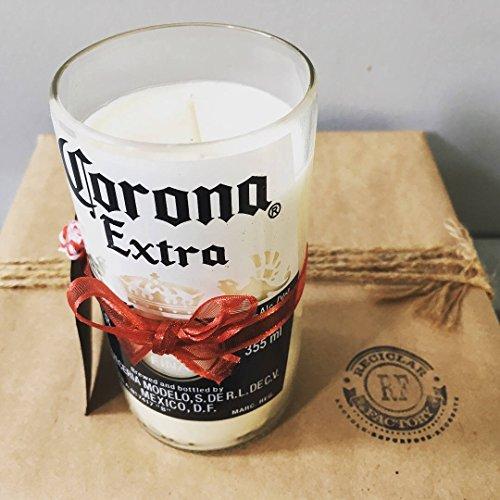 Bougie en cire de soja écologique avec bouteille de bière Corona en verre recyclé