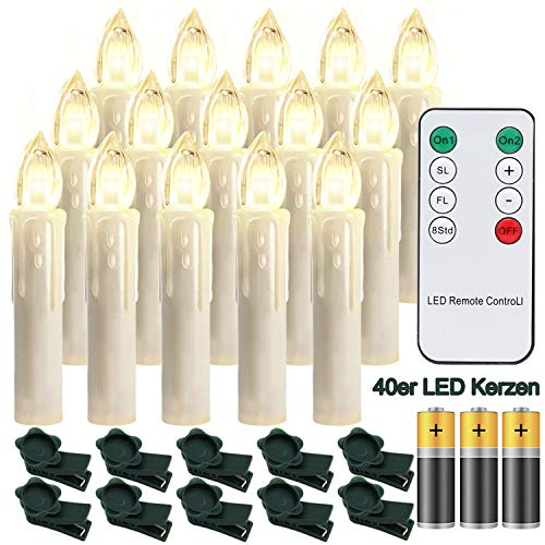Hengda 40X LED Weihnachtskerzen mit Fernbedienung Timer Warmweiß Dimmbar Kerzen mit Batterien Weihnachtskerzen Christbaumkerzen Kabellos