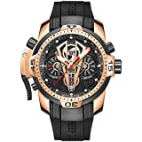 Reef Tiger Mens Sport Mechanical Watches with Rose Gold Black Dial Automatic Watch Calfskin Rubber Strap RGA3591 (RGA3591-PBGR)