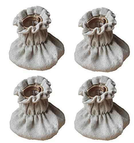 AMZH 4 Piezas Protector Patas Sillas Tela de Lino Silla Pierna Caps Antideslizante y silencioso Adecuado para Patas de sillas (25-35 mm) y Patas de Mesa (35-50 mm) Small