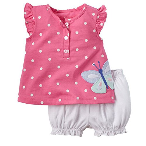 BOBORA Vêtements Bébé Fille Été, 2PCs Ensemble Bébé Fille Polka Dots Adorable T-Shirt + Short en Coton pour 0-3Ans