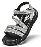 DADAWEN Girls Summer Glitter Strappy Sandals Rhinestone Open Toe Gladiator Sandals (Toddler/Little Kid/Big Kid) Silver US Size 4 M Big Kid
