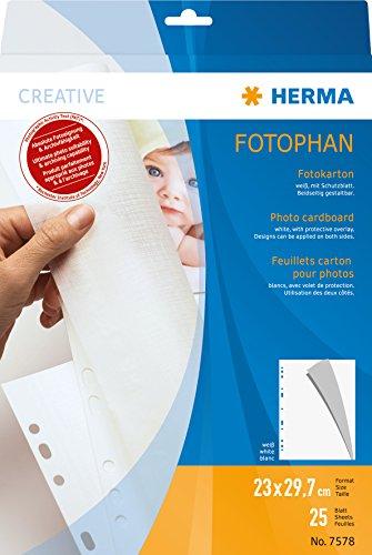 HERMA 7578 Fotophan Fotokarton weiß (23 x 29,7 cm, 25 Blatt, Spezialkarton) mit Schutzblatt aus Pergaminpapier und Eurolochung für Foto-Album und Ordner, beidseitig gestaltbare Fotoblätter