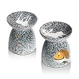 ComSaf Alce Bruciatore Olio Ceramica Diffusore di Oli Essenziali con Cucchiaio di Candela Set di 2, Bruciatori Tart Candele Diffusori per Yoga, Camera da letto, Meditazione (Grigio)
