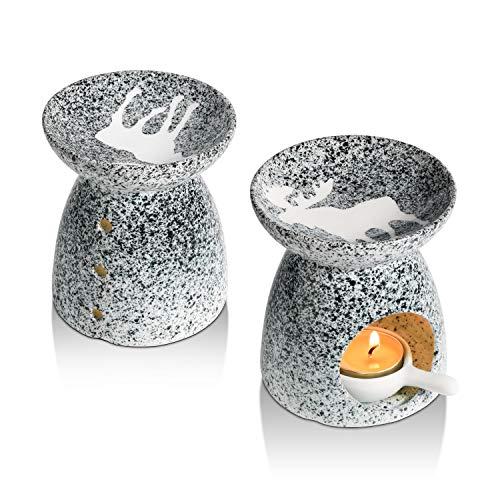 ComSaf Dekorativ Elk Keramik Duftlampe Teelicht 2er Set, Wachs Aromalampe Duftöl Kerzenhalter Elchmuster, Aromabrenner für Duftöl und Duftwachs mit der Candle Löffel Aroma Diffuser(Grau)