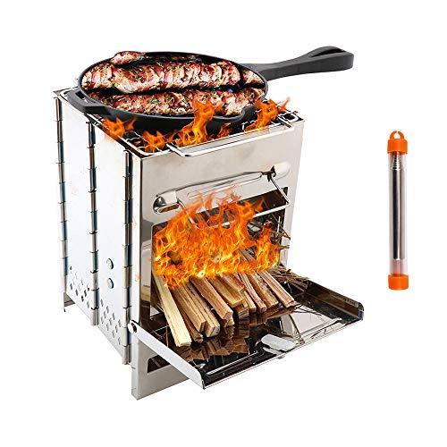 TIANC Estufas de camping de acero inoxidable estufa de leña, ligera, portátil, plegable, para barbacoa, cocina, camping al aire libre