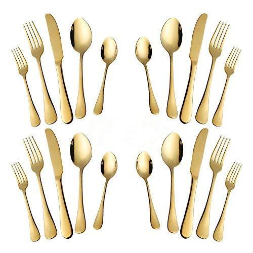 Gold Silverware Set, 20-Piece Stainless Steel Flatware Set, Kitchen Utensil Set Service for 4,Tableware Cutlery Set for Home and Restaurant, Dishwasher Safe