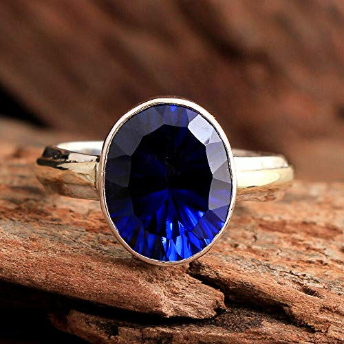 Sapphire 925 Sterling Silver Rings for Women, Blue Bridesmaid Rings, Oval Gemstone Rings, Stackable Rings, bezel Set Handmade Rings