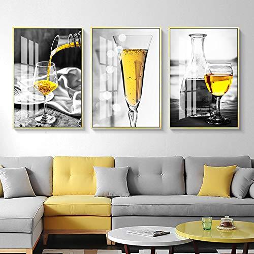 Póster nórdico Copa de vino blanco y negro Arte de la pared Impresión en lienzo Pintura Imágenes de licor para la sala de estar Decoración moderna 40x60cmx3pcs Sin marco
