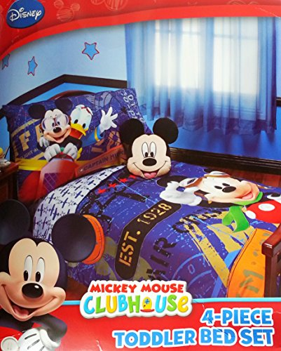 Disney Mickey Mouse 4pc Toddler Bedding Set ''Genuine Licensed'' by Disney Baby