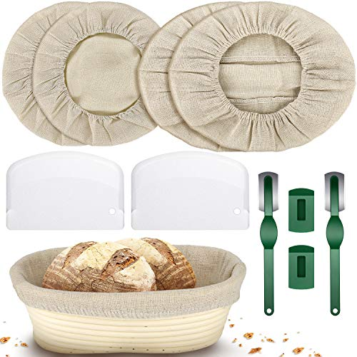 8 Pieces 10 Inch Round Oval Linen Liner Cloth for Banneton Bread Proofing Basket, Brotform Sourdough Cloth Liner Cover, Plastic Dough Scraper, Bread Lame Slashing Tool for Home Cooking Baking