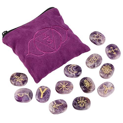 mookaitedecor Amethyst-Hexen, Runen, graviertes -Symbol, heilender Kristallstein mit Drittes-Auge, Chakra-Tasche für Reiki, Meditation, Wahrsagung, 13 Stück