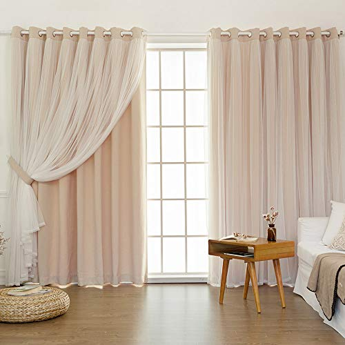 Blackout Curtains for Bedroom & Living Room - Thermal Insulated with Grommet, Soft Touch Tulle, Privacy Protect, Room Darkening Drapes 2 Panels (W52xL63, Pink)
