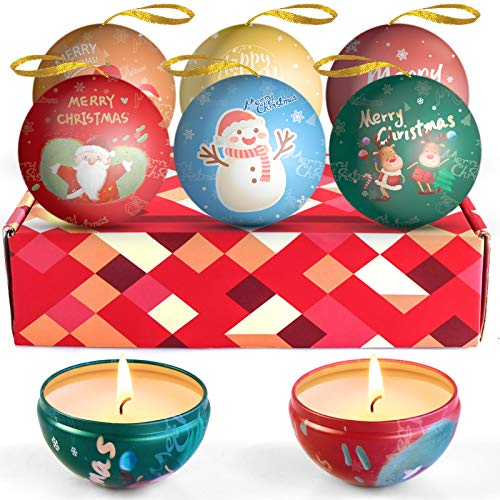 LA BELLEFÉE Christmas Scented Candles, Natural Soy Wax Candles, Aromatherapy Candles,Christmas Gift Set, Christmas Tree Decorated Ball, Decoration Candles, Winter Presents,6 Fragrance