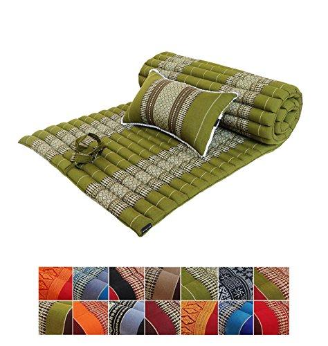 Traditionelle Thai-Sitzmatte aus Kapok, aufrollbar, mit passendem Stützkissen, für Yoga, Massage oder Entspannung grün