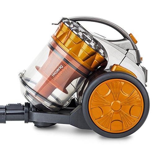 H.Koenig Aspirateur sans sac Multicyclonique traineau Compact+ orange STC60, Classe énergétique AAA, filtre HEPA, Silencieux, Puissant, Efficace,Inclus brosse, suceur plat 2 en 1