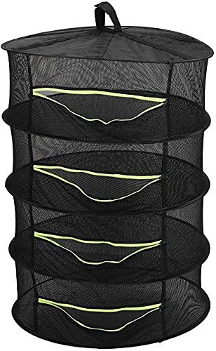 XINYUDAGE Hierba Planta Net Neto Medicina Colgante Dry Mesh Net Negro Colgante Planta Secador de Secadora Red de 4 Capas Hierba de Secado de Hierbas con Cremalleras 60 cm Iteration