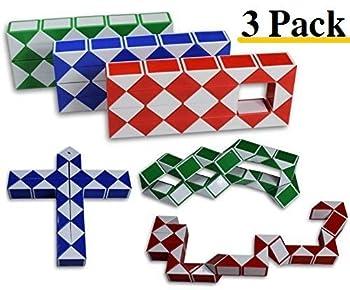 Magic Snake Cube Twist Puzzle Bundle of 3! 36 Wedges! 3 Large Cubes  Large 3 Pack