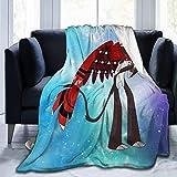 Manta de Franela Tela de Cepillo Extra Suave Súper cálida Mantas para sofás acogedora y Ligera Gráfico del Hotel Husk-Hazbin50 x40,W127cm X L102cm